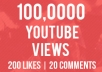 give you 100,000+ Youtube views plus 200 likes and 20 Custom Comments