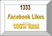 give you 1333  Facebook Likes, 100% Real