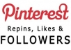give you 800+ Pinterest Followers / Likes or Repins without admin access