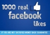 provide Real Human Verified 1000+ High Quality Facebook Likes for your any Fanpage