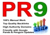 manually create Top QUALITY Backlinks from 10+ Unique Pr9 Top Authority Sites