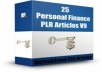 provide FRESH 25 Personal Finance PLR Articles