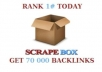I will do a scrapebox blast of 70 000 guaranteed blog comments backlinks, unlimited urls/keywords allowed @!@