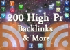 get over 200 High Pr DoFollow backlinks for your website, I will then social bookmark those links AND I will then submit and ping those urls !!!~~