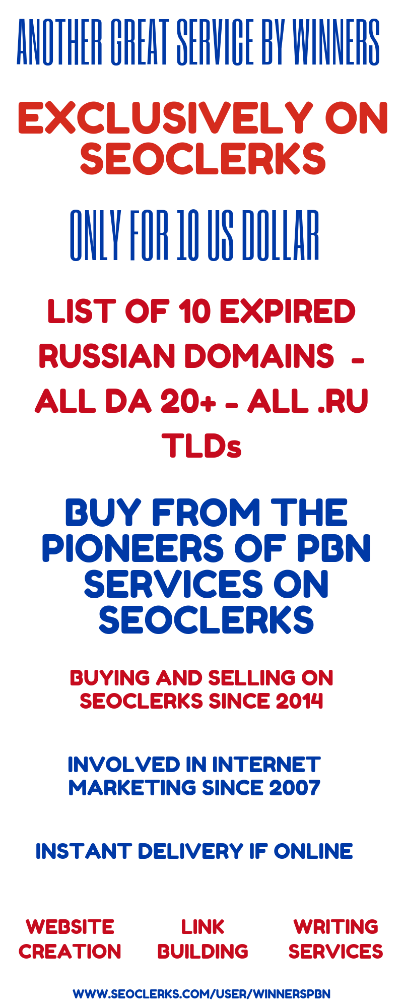 List of 10 Expired Russian Domains - All DA 20+ - All  RU TLDs for $10