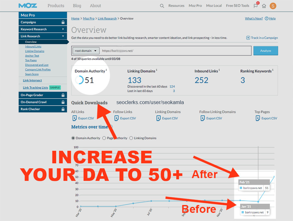 Increase Your Domain Authority Moz DA to 50+ for Google top rankings