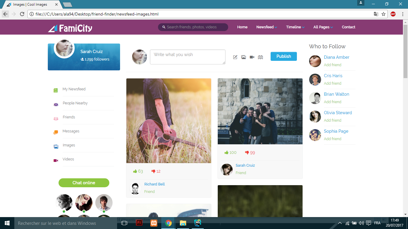 get a responsive famicity social media template all screen sizes css bootstrap for  5