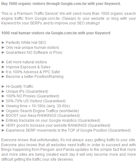 Organic traffic from Google  com  tw Taiwan with your Keyword for $6