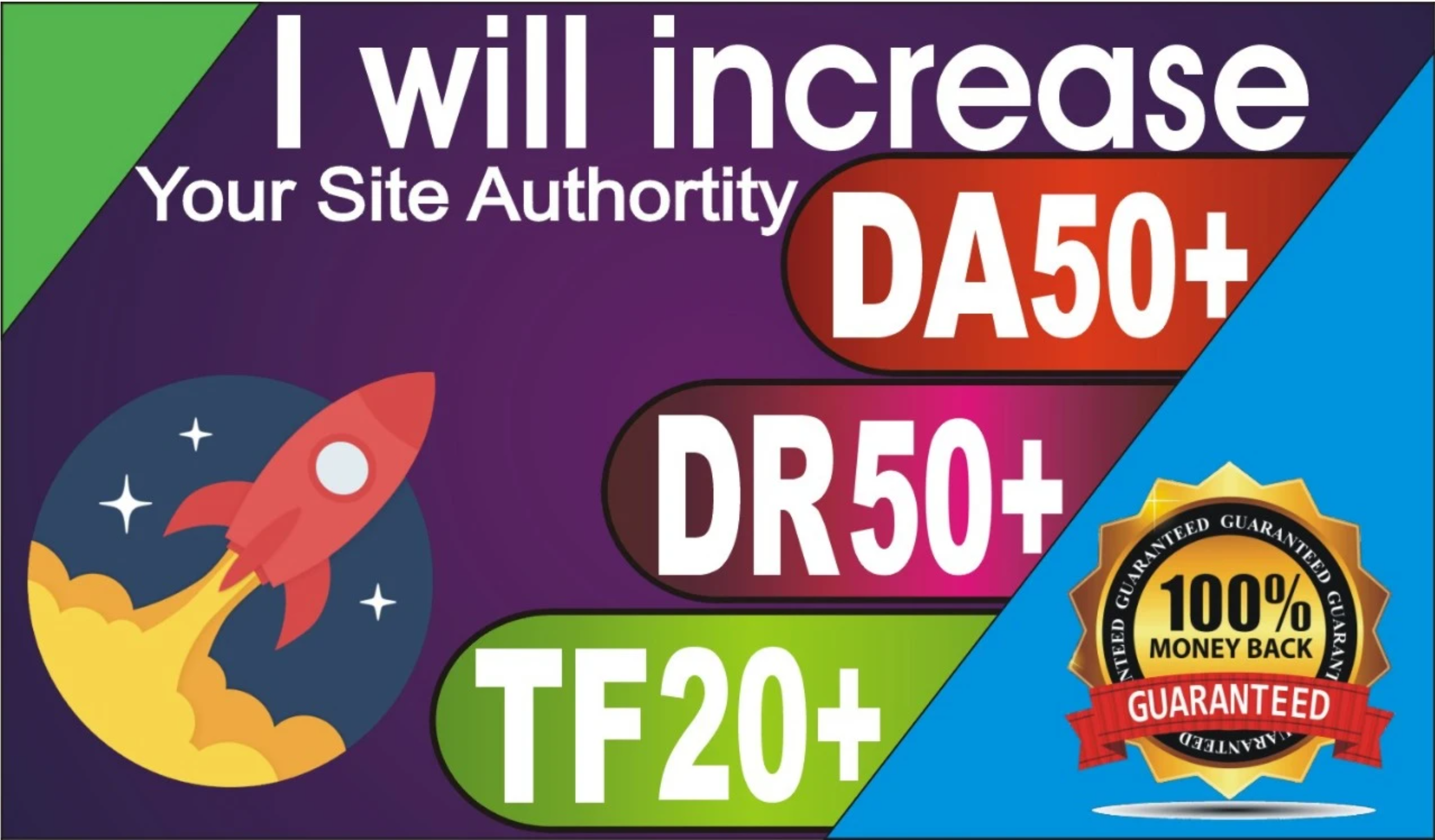 Boost your Website DA50+ DR50+ and TF25+ for top rankings