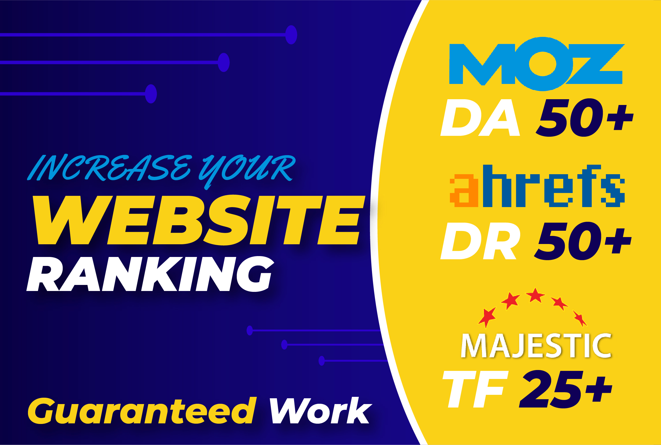 No Redirct link Boost your ahrefs 40+ DR,  moz 50+ da,  25 + majestic tf high