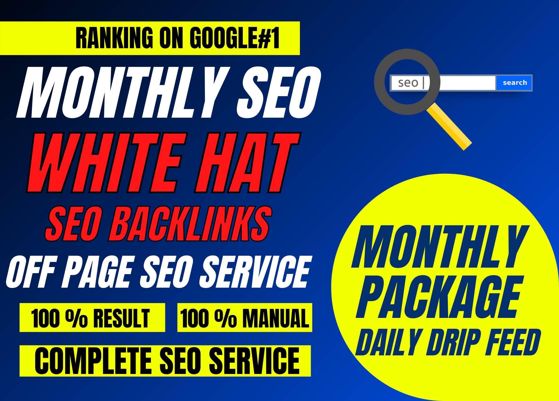 Rank Page 1 - Monthly Seo Package With Daily Reports,  Done Manually