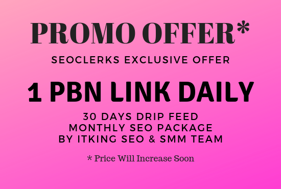 1 PBN link daily for 30 days - Monthly SEO Package