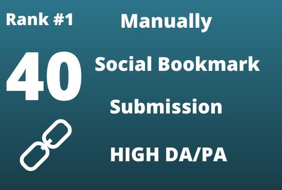 create manually 40 High PR social bookmarking backlinks