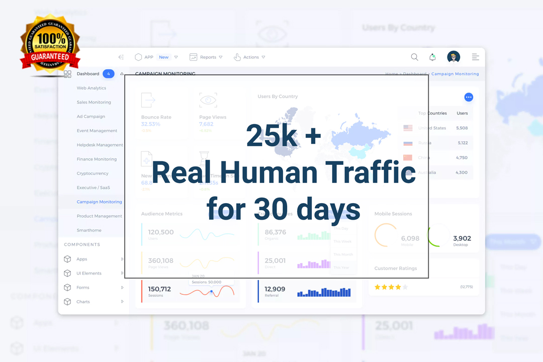 25K + Real Human Traffic to your website for 30 days