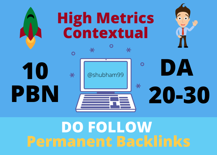 10 PBN DA 20-30 High Metrics Contextual Permanent Backlinks