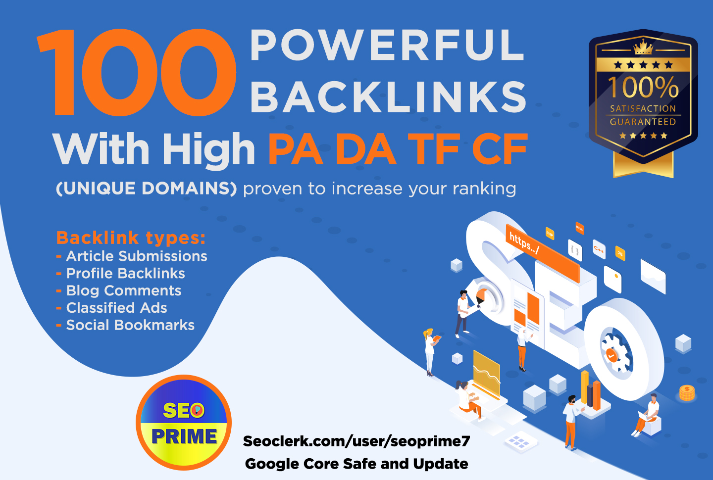 Increase Ranking with 100 Unique Domain High Authority Backlinks PA DA TF CF Upto 100