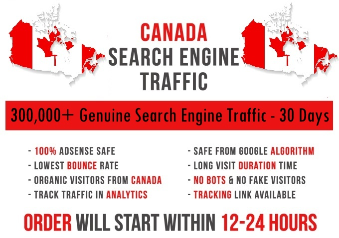 Send original 300k Canada based keyword targeted Search Engine traffic