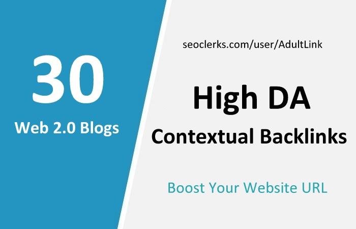 Manually Top 30 High DA Web 2.0 Contextual Links