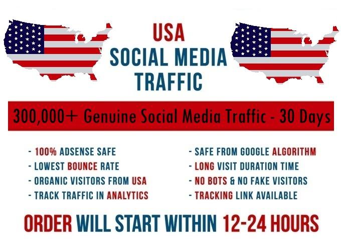 Send real 300k USA based Social Media traffic