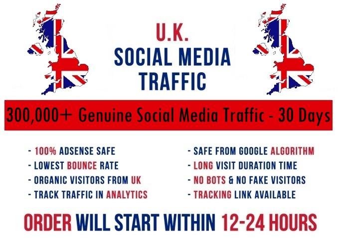 Send actual 300k UK based Social Media traffic