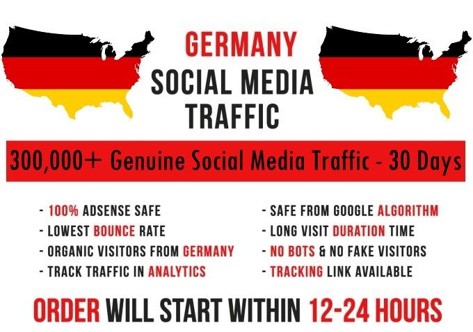 Send genuine 300k Germany based Social Media traffic