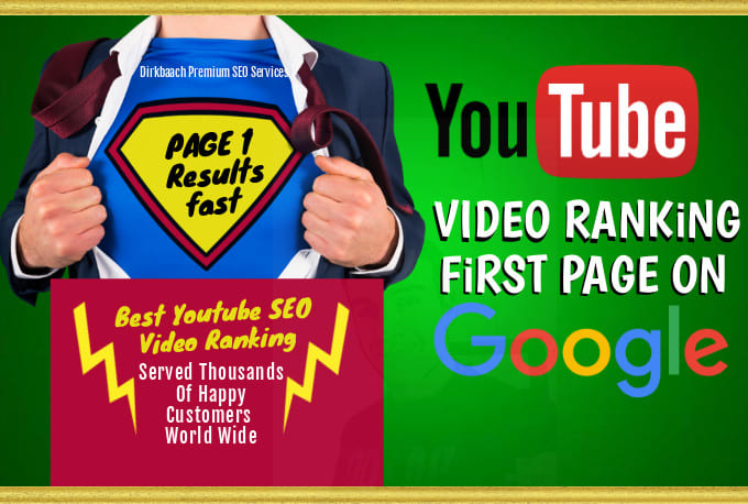 YouTube video ranking seo first page on google for local business and any video