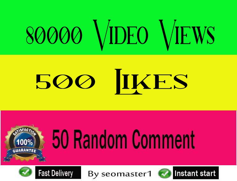 Fast 80k+ HQ social video views or 500 likes or 50 comments social promotion