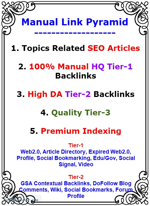 Provide Manual Link Pyramid to Boost your Google Ranking