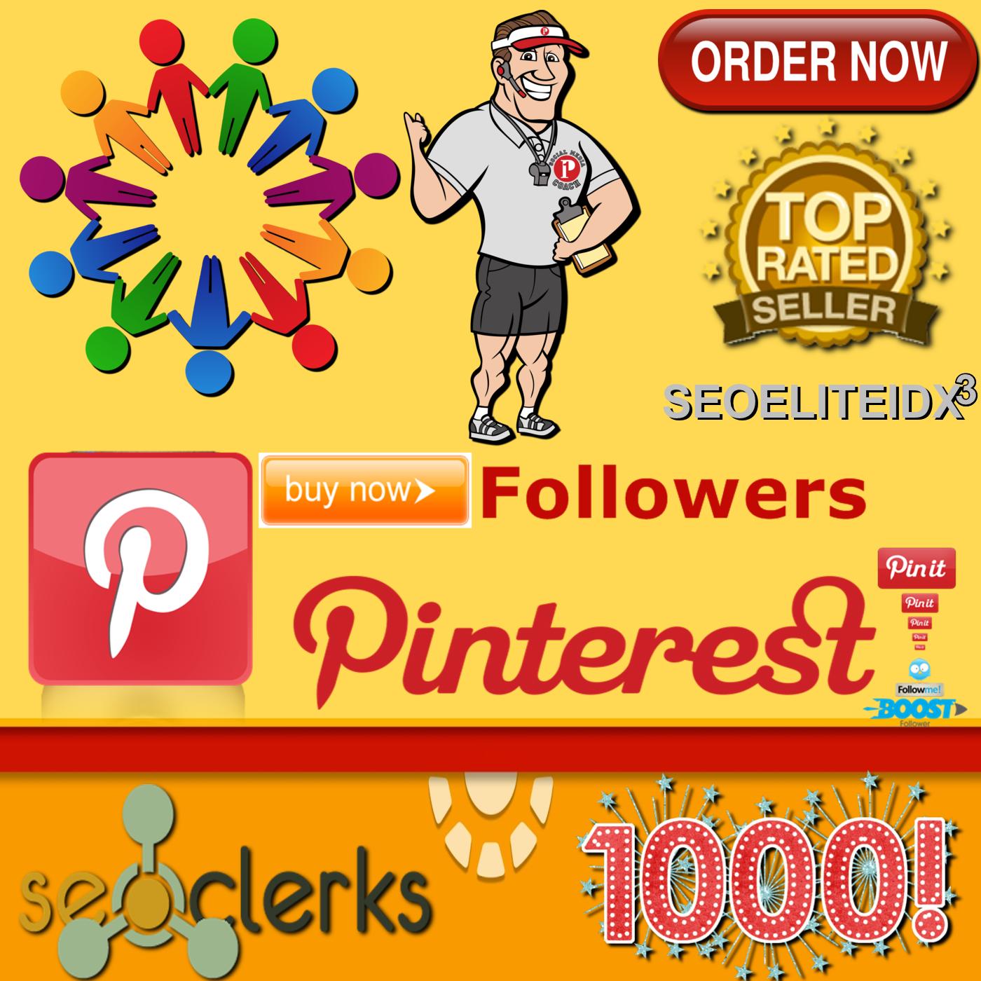 1,000 Real Genuine Pinterest Profile Followers Non Drop Guaranteed