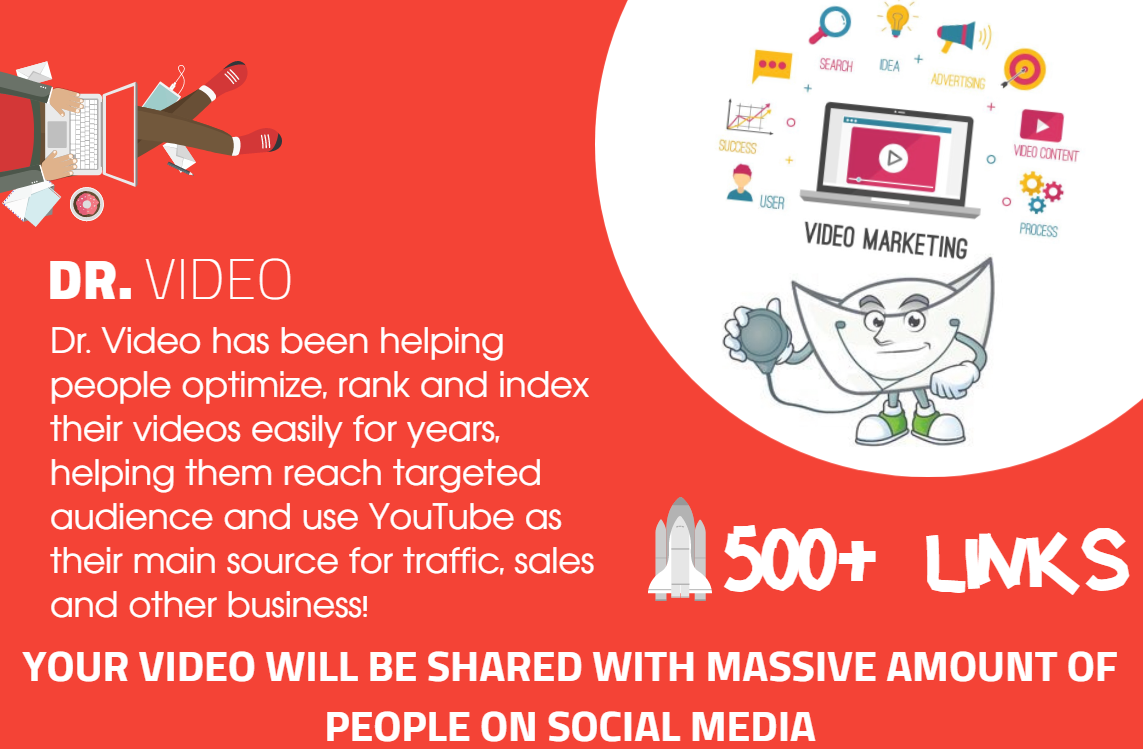 Youtube SEO - Get 500 Organically Built Links - Video Embeds,  Social Signals,  Backlink