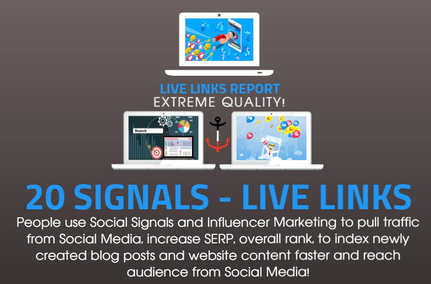 20 Social Signals to BOOST your SEO and Traffic with PROMOTION to 100.000 people on Social Media