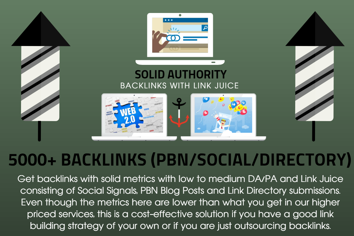 5000 Solid Authority Backlinks with Social Signals Juice, PBN Posts and Link Directory Submission