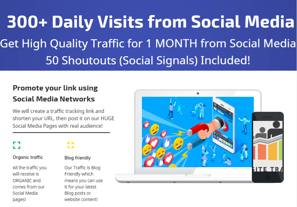 Get 1 Month Traffic with 300+ Daily Visits from Social Media and 50 Shoutout Social Signals