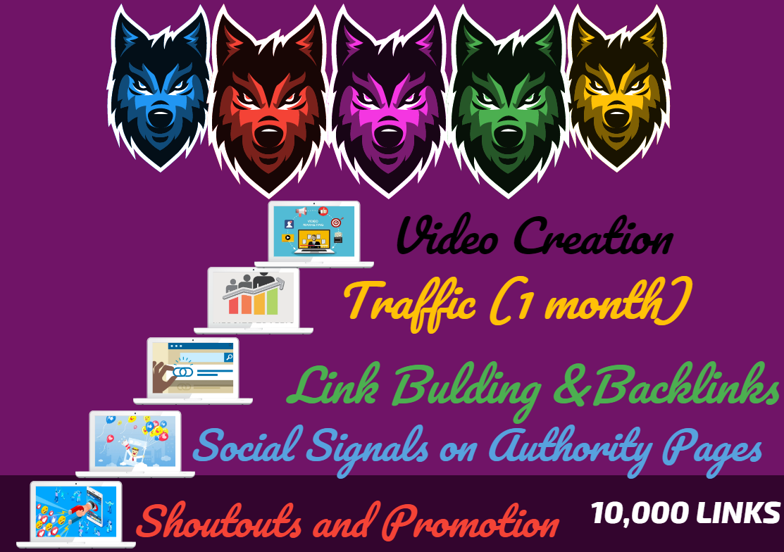 Powerful 5 Levels SEO - 10,000 Links - Video Creation, Traffic, Backlinks, Social Signals, Shoutouts