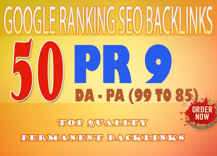 Manually Do 50 PR 9 Backlinks To rank your website higher in google DA 99 to 85