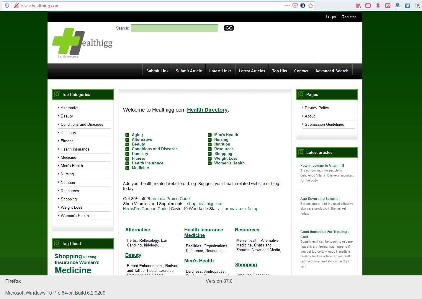 Add your website/blog to health directory - Healthigg. com