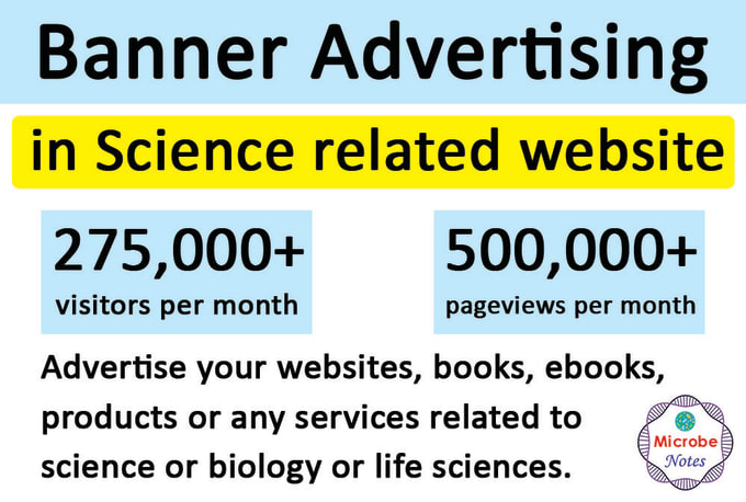 Advertise science related products and services on my website with 500,000+ page views per month