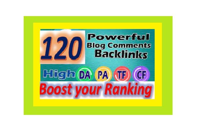 Provide 120 High DA,  PA Blog Comments Backlinks for websites ranking