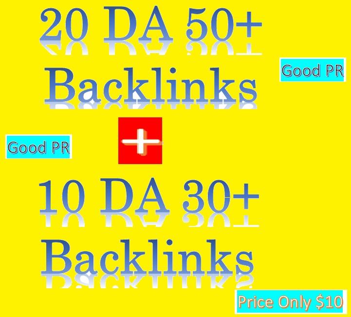Manage 20 DA 50+ & 10 DA 30+ Do-follow Backlinks contextual and profiles backlinks
