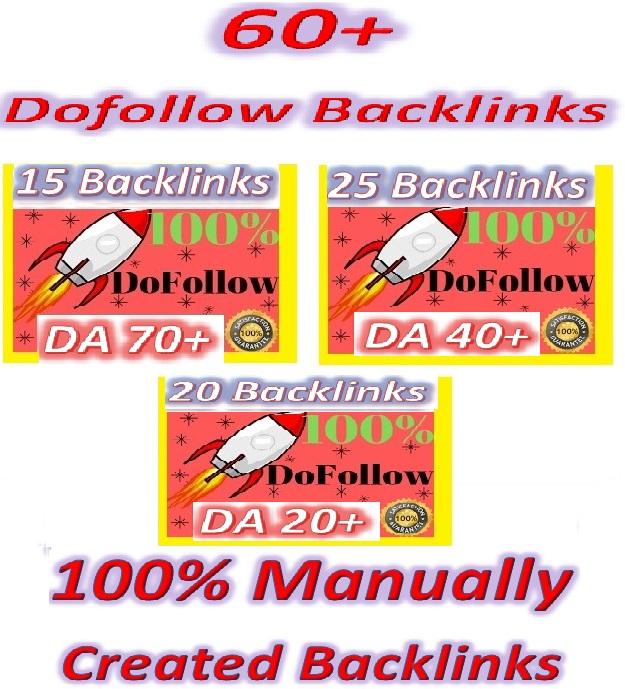 Manually Create High DA & Good PR 60 Do-follow Backlinks contextual and profiles backlinks