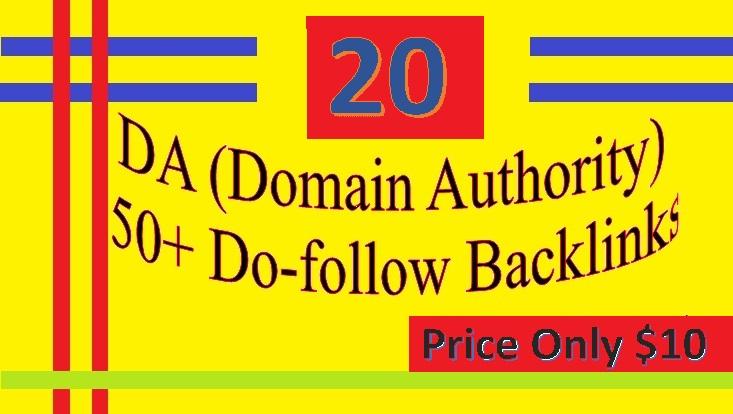 Provide 20 DA 50+ Do-follow Backlinks contextual and profiles backlinks