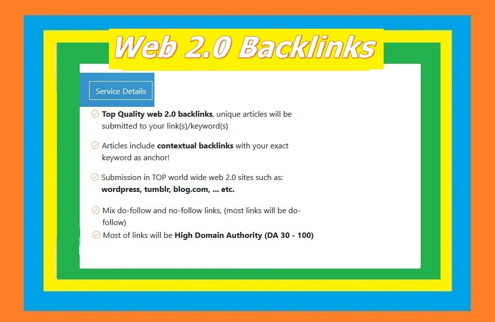 Will Provide 50 Web 2.0 blogs backlinks for your websites