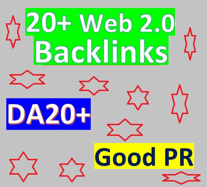 Manage 20+ Web2.0 Blog Backlinks DA20+ & Good PR for Your Websites