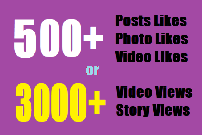 give insta500 fast Social likes or Instant 3000 video views/story views