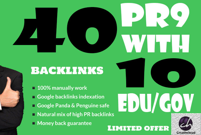 40 PR9 Backlinks and 10. Edu/. Gov Backlinks only