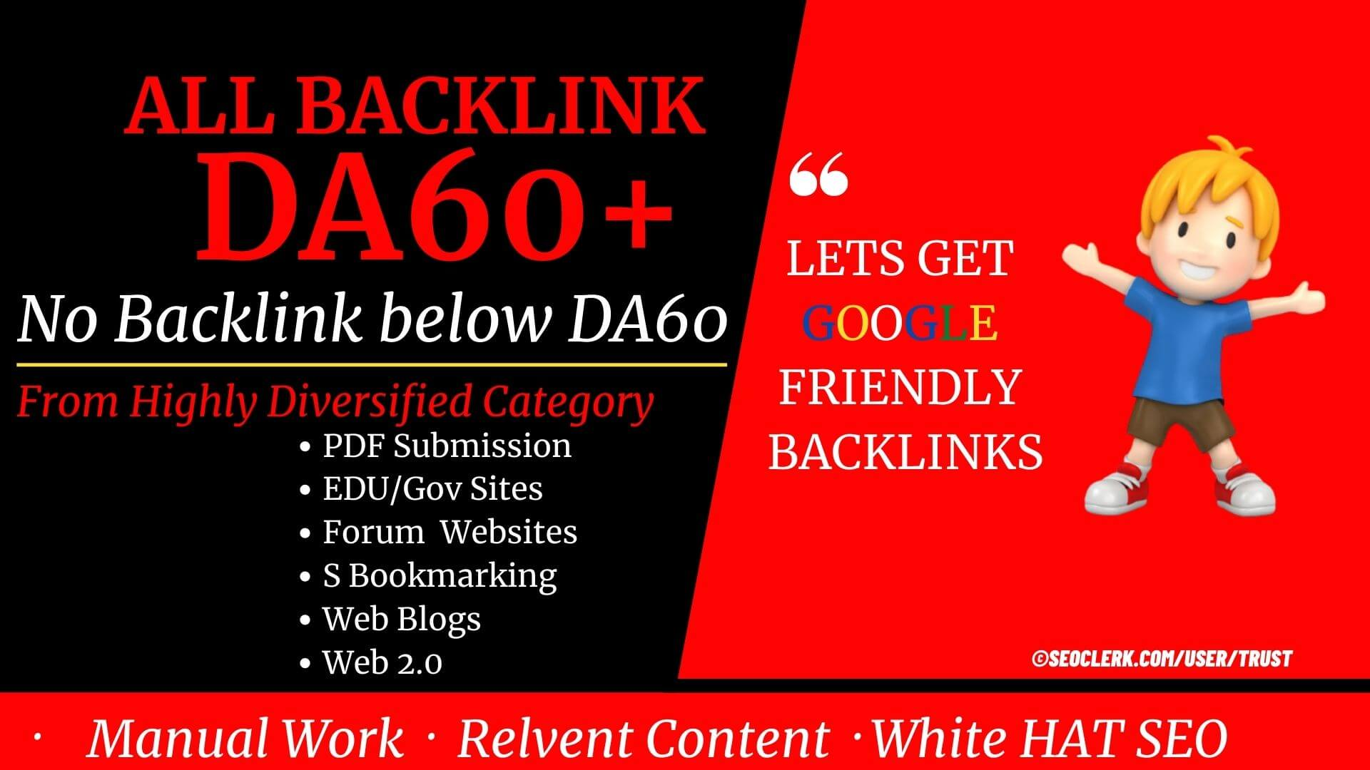 No Cheap Backlinks,  Only DA60+ premium Backlinks 53+ Backlinks from Wiki,  PDF,  Gov,  Edu,  and Forum