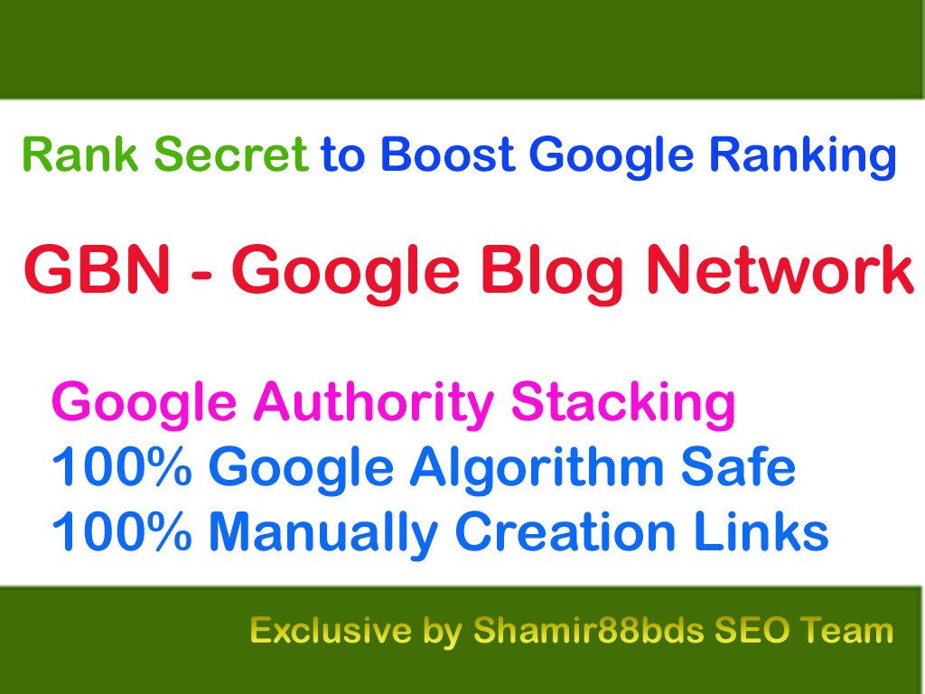 Rank Secret GBN v2 Google Blog Network to Boost Google Ranking