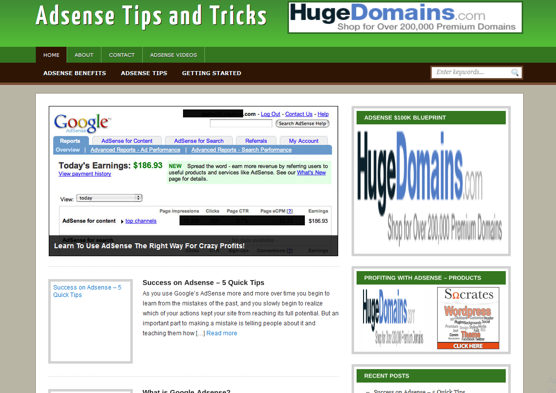 Adsense Tips and Tricks Wordpress Website