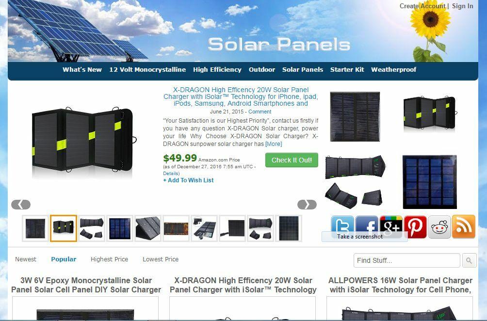 Solar Panels Amazon Store Website