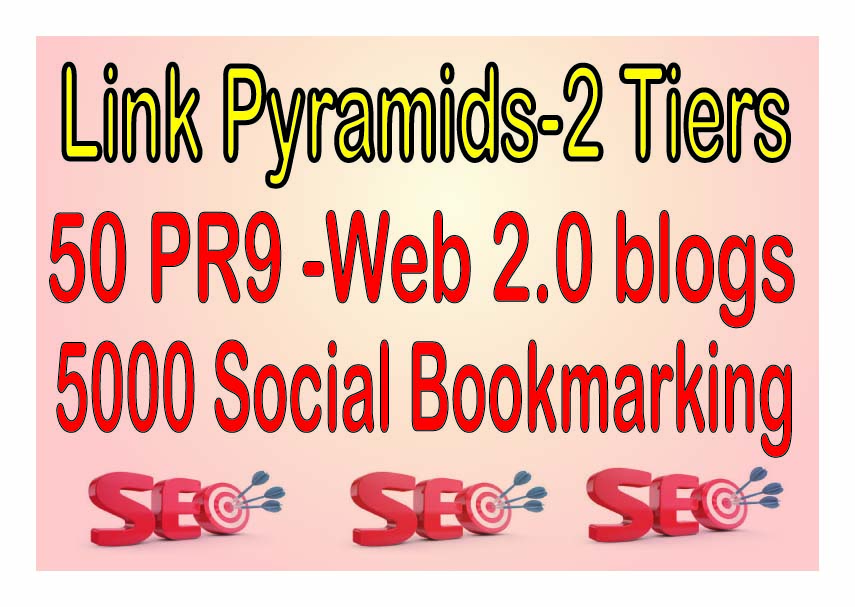 50 PR9 -Web 2.0 blogs SEO Backlinks & 5000 Social Bookmarking For Your Website Power Your Tier 2 Lin
